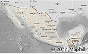 Shaded Relief 3D Map of Mexico, desaturated