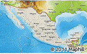 Shaded Relief 3D Map of Mexico, physical outside