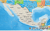 Shaded Relief 3D Map of Mexico, political outside, shaded relief sea