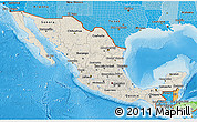 Shaded Relief 3D Map of Mexico, political shades outside, shaded relief sea