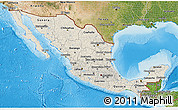 Shaded Relief 3D Map of Mexico, satellite outside, shaded relief sea