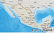 Shaded Relief 3D Map of Mexico, semi-desaturated, land only