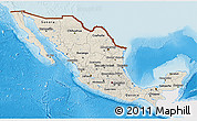 Shaded Relief 3D Map of Mexico, single color outside