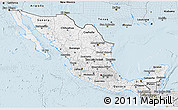 Silver Style 3D Map of Mexico