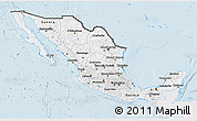 Silver Style 3D Map of Mexico, single color outside