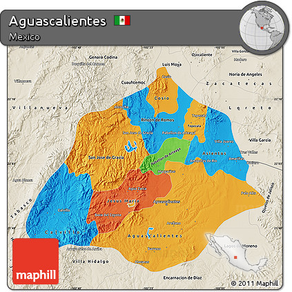 Free Political Map of Aguascalientes shaded relief outside