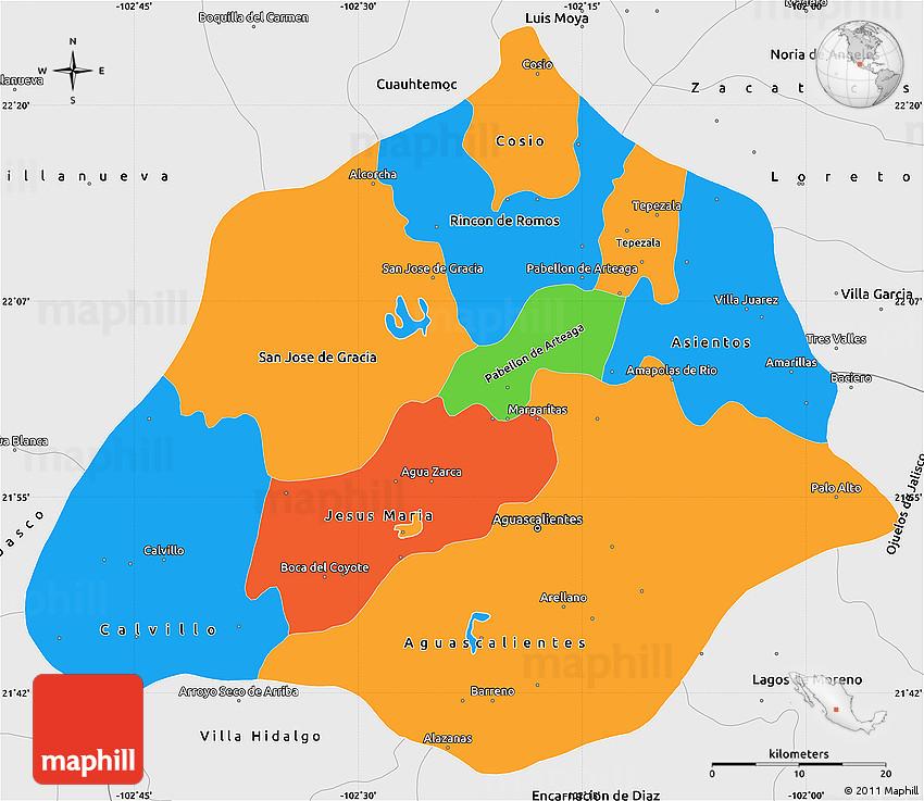 Political Simple Map of Aguascalientes single color outside