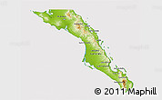 Physical 3D Map of Baja California Sur, cropped outside