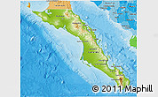 Physical 3D Map of Baja California Sur, political shades outside