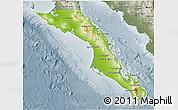 Physical 3D Map of Baja California Sur, semi-desaturated