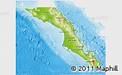Physical 3D Map of Baja California Sur, single color outside