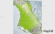 Physical 3D Map of Comondu, semi-desaturated