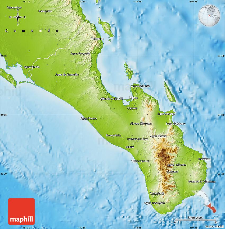 Physical Map of La Paz on rio de janeiro map, baja california map, lima map, todos santos map, santiago map, bogota map, south america map, peru map, bolivia map, los angeles map, montevideo map, quito map, são paulo map, cabo san lucas map, luanda map, cancun map, costa rica map, sea of cortez map, managua on map, mexico map,