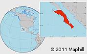 Gray Location Map of Baja California Sur