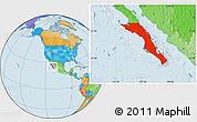 Political Location Map of Baja California Sur
