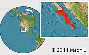 Satellite Location Map of Baja California Sur