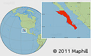 Savanna Style Location Map of Baja California Sur