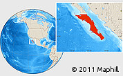 Shaded Relief Location Map of Baja California Sur