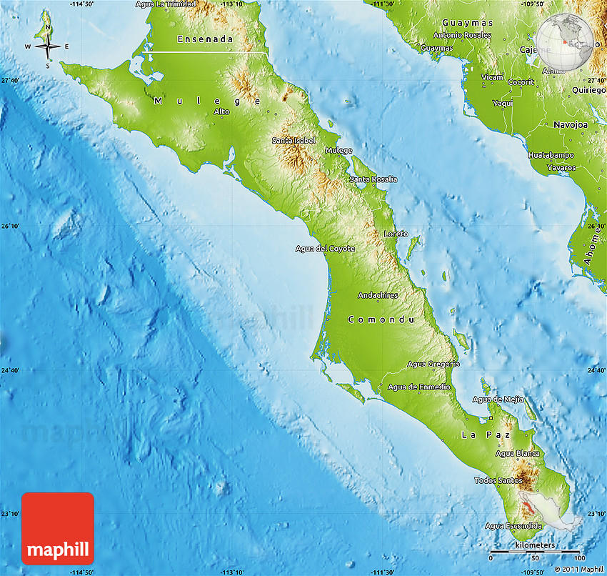 Physical Map of Baja California Sur