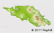 Physical 3D Map of Mulege, cropped outside