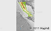 Physical 3D Map of Baja California, desaturated