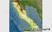 Physical 3D Map of Ensenada, darken