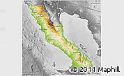 Physical 3D Map of Ensenada, desaturated