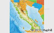 Physical 3D Map of Ensenada, political outside