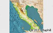 Physical 3D Map of Ensenada, satellite outside