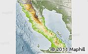 Physical 3D Map of Ensenada, semi-desaturated