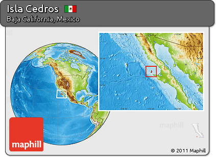 Physical Location Map of Isla Cedros