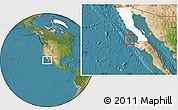 Satellite Location Map of Isla Cedros, highlighted parent region