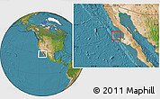 Satellite Location Map of Isla Cedros