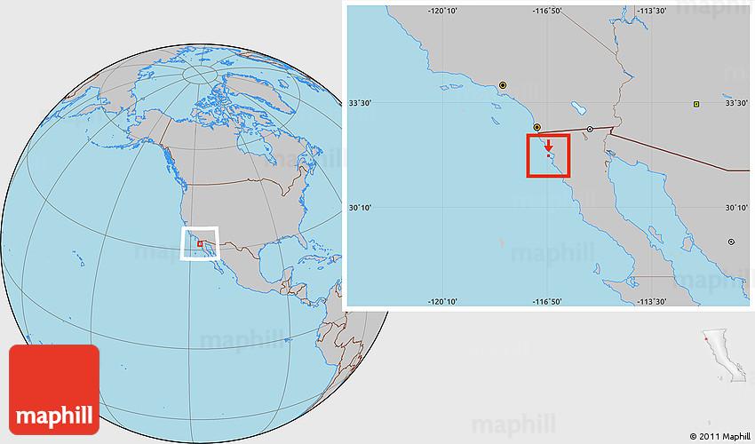 Gray Location Map Of Isla De Todos Los Santos