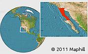Satellite Location Map of Baja California