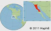 Savanna Style Location Map of Baja California