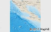 Shaded Relief Panoramic Map of Baja California