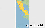 Savanna Style Simple Map of Baja California