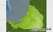 Physical 3D Map of Campeche, darken
