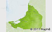 Physical 3D Map of Campeche, lighten