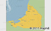 Savanna Style 3D Map of Campeche, single color outside