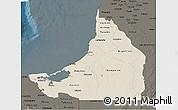 Shaded Relief 3D Map of Campeche, darken