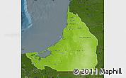 Physical Map of Campeche, darken