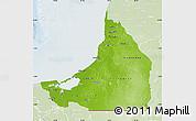 Physical Map of Campeche, lighten