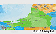 Political Shades Panoramic Map of Campeche