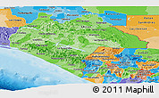 Political Shades Panoramic Map of Chiapas