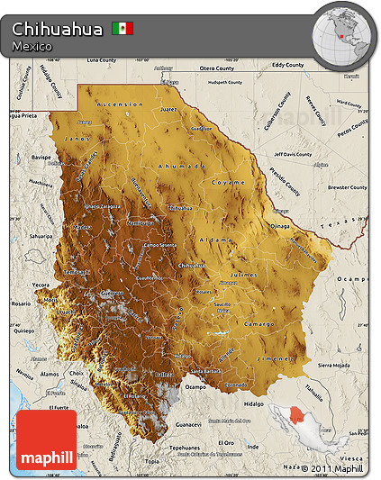 Free Physical Map of Chihuahua, shaded relief outside on