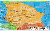 Political Shades Panoramic Map of Chihuahua