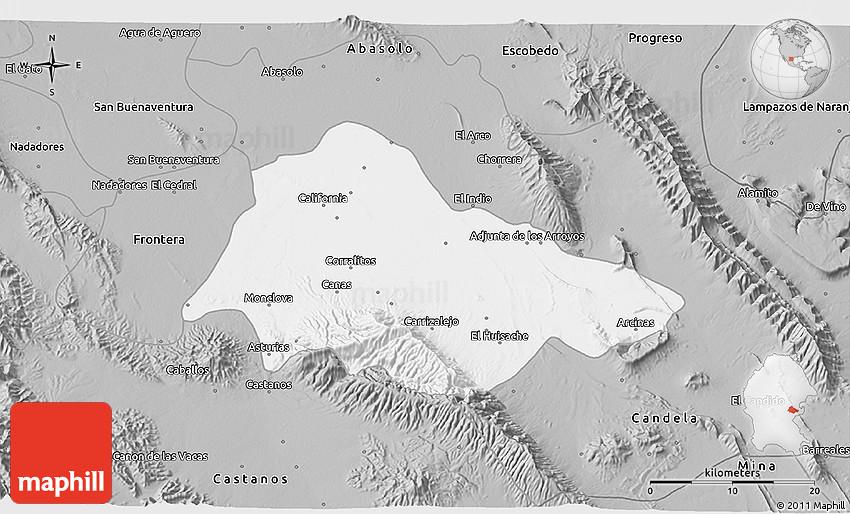 Monclova Mexico Map.Gray 3d Map Of Monclova