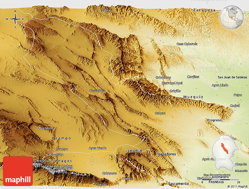 Physical Panoramic Map of San Buenaventura